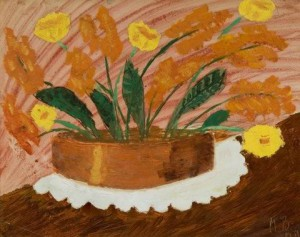 Flowers in Copper Vase on Doily